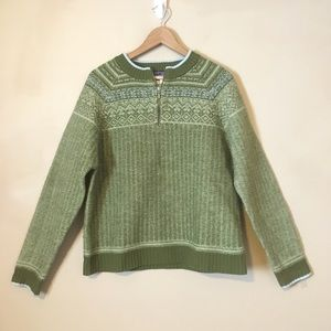 Patagonia Women's Wool Sweater L Green Fair Isle
